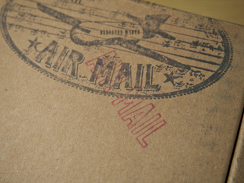 Close up of post marks