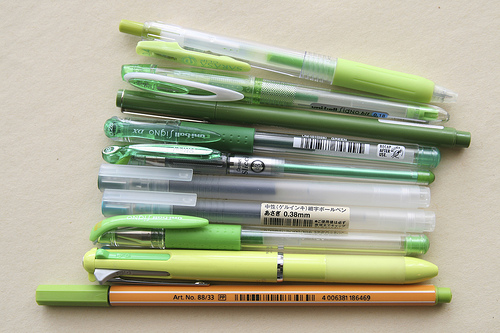 The pens tested in the search for the perfect green pen