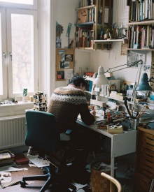 Artist at his desk