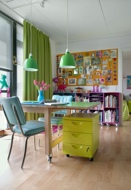 lime green aqua and pink