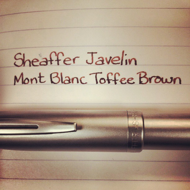 A sample of Mont Blanc Toffee Brown from IvanR via Instagram