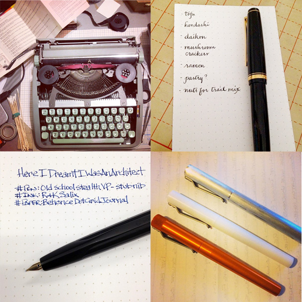 Clockwise, from top left: Hermes Typewriter cleaning by DovBee, Grocery list and calligraphy practice by Bakanekosan, Render K collection by imyke and Old School Vanishing Point by Pen Addict