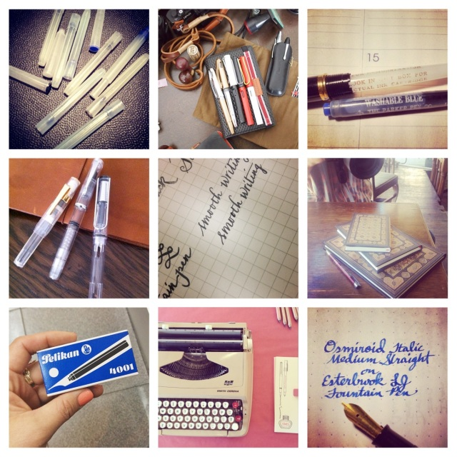 "Here are a few of the great photos I found on Instagram this week: (clockwise from top right) Empty cartridges from Brad Dowdy, well-holstered pens by Patrick Ng, an old Parker Washable Blue cartridge from Ivan R, notebooks from PaperBlanks, Osmiroid nib from Ivan R, typewriter at Arch Drafting Supplies Letter Writing Social by The Black and the Red, Pelikan ink cartridges from Rad + Hungry, demonstrator fountaun pens by slotracer and ""Smooth writing"" sample by Bakesan"
