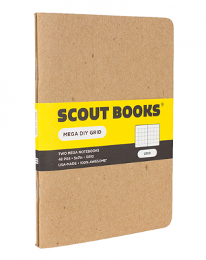 Scout Books just released a new, larger sized notebooks. At 5x7, it includes the same kraft cardstock covers as its little brother but with more room to write. Available in grid, dot, lined or blank. Two-pack for $10