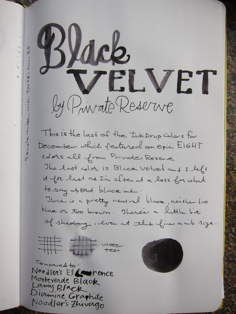 Private Reserve Black Velvet Writing Sample