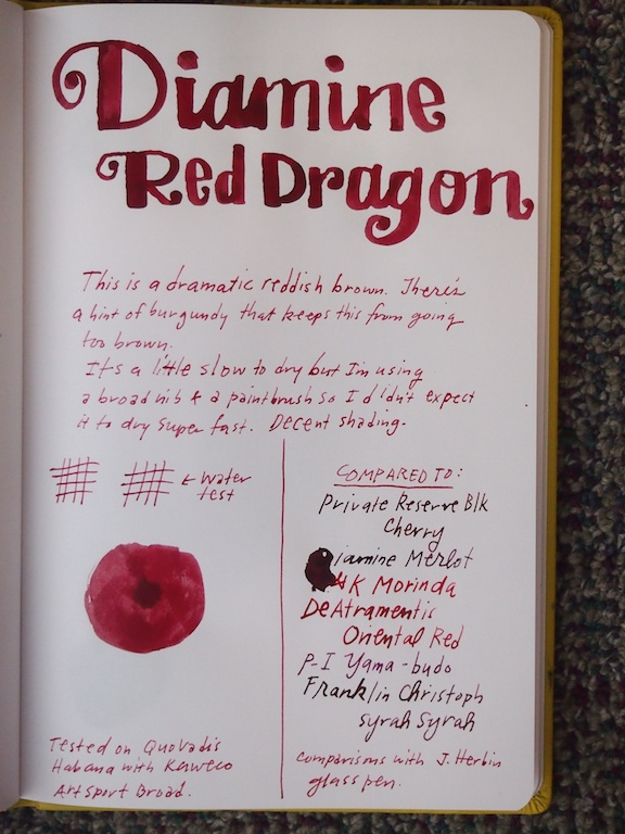 Diamine Red Dragon writing sample