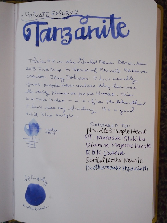 Private Reserve Tanzanite writing sample