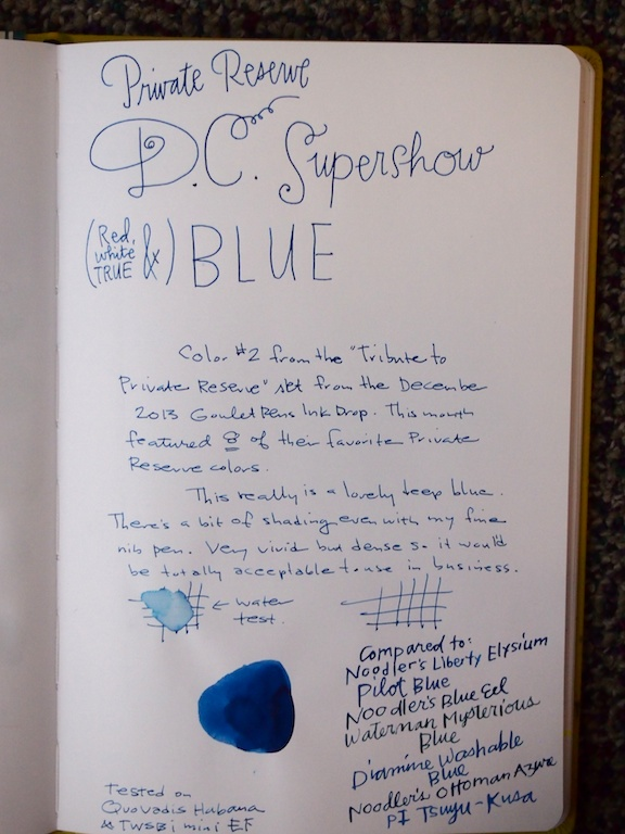 Private Reserve DC Supershow Blue Writing Sample