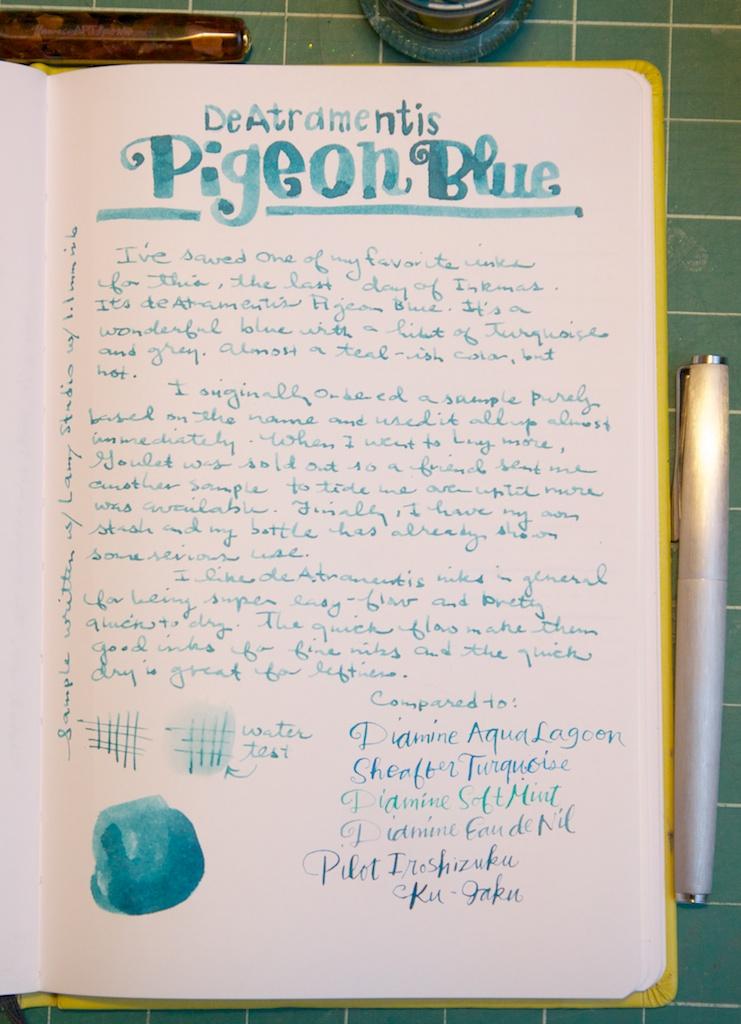 De Atramentis Pigeon Blue writing sample