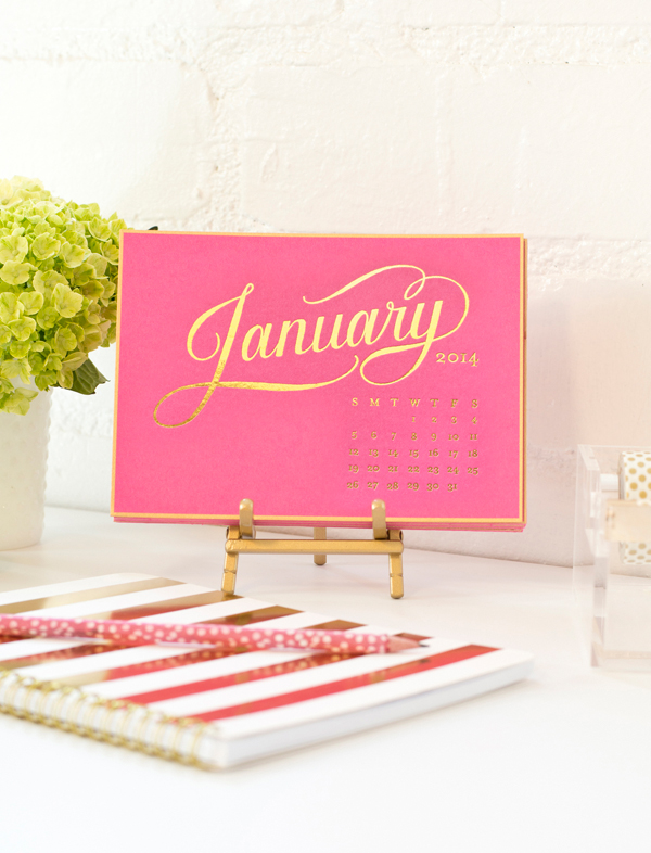 Gold Foil Calendar on raspberry paper with easel stand $52. Refill only $38. Also available in Kraft with opaque white foil stamp. (via Sugar Paper)