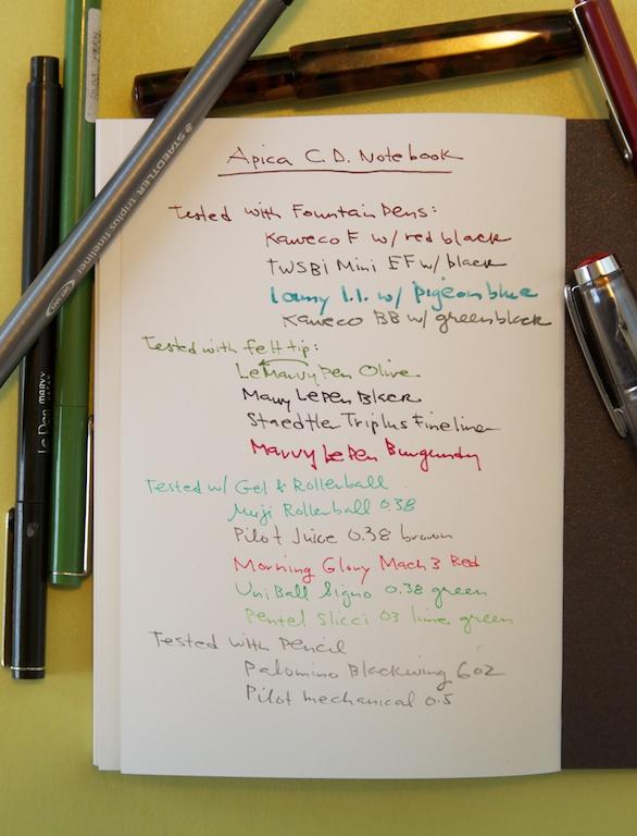 Apica CD Premium Notebook writing sample