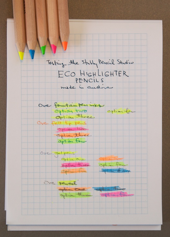 Stubby Pencil Studio Highlighter Pencils Writing Samples