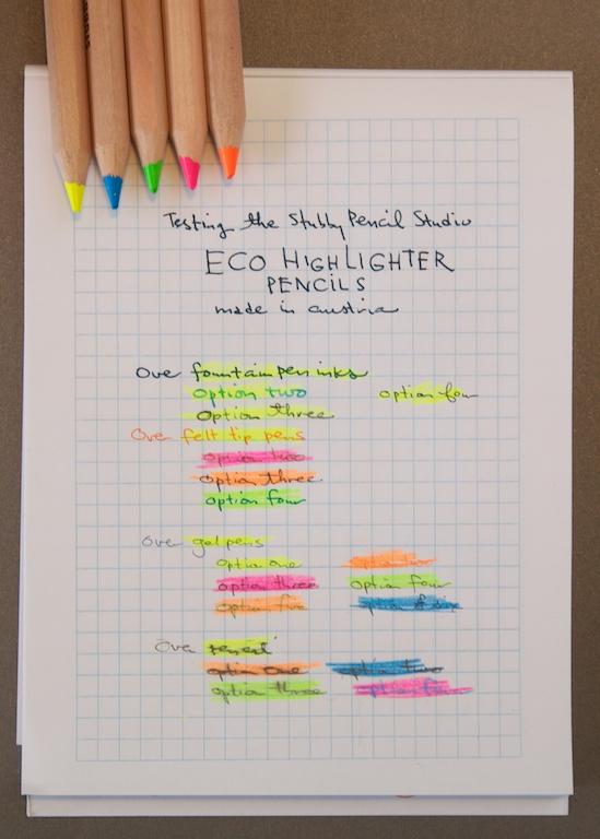 Stubby Pencil Studio Highlighter Pencils Writing Samples