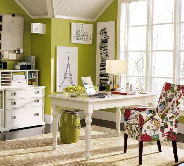 Lime and Floral office sapce