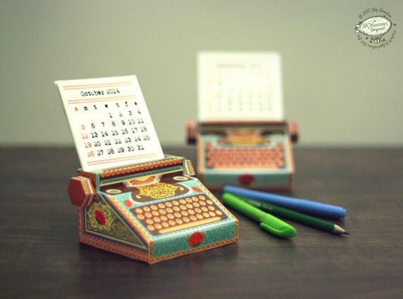 Paper DIY Typewriter Calendar