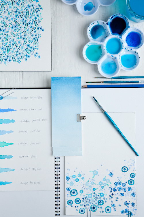 Leslie Shewring experiments with ocen inspired blue watercolors (via Decor8 and A Creative Mint)