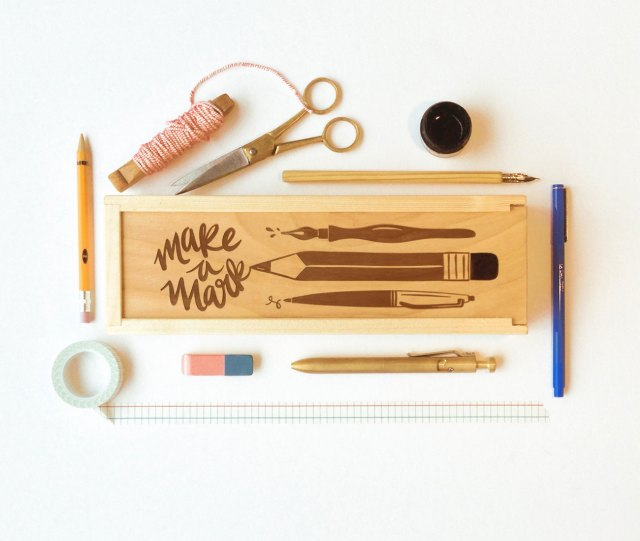 Little Low Laser Etched Wood Pencil Box $48 (via Etsy)