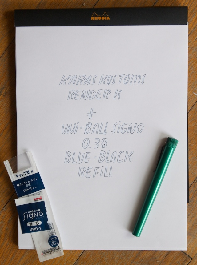 Render K Uni Ball Signo Refill Writing Sample