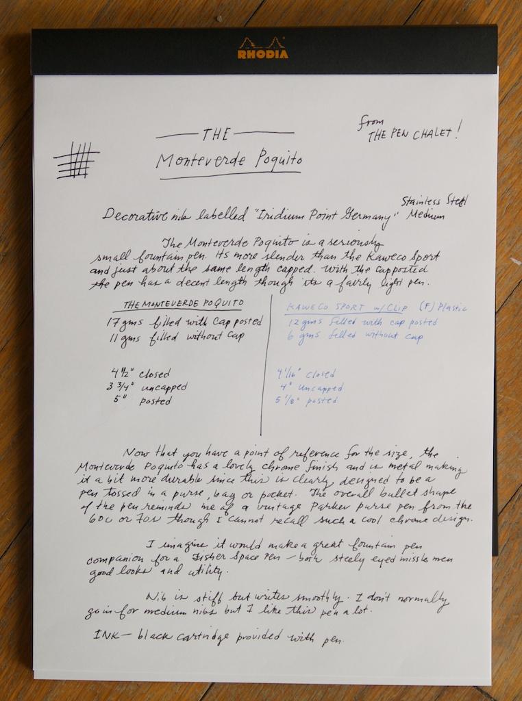 Monteverde Poquito fountain pen writing sample