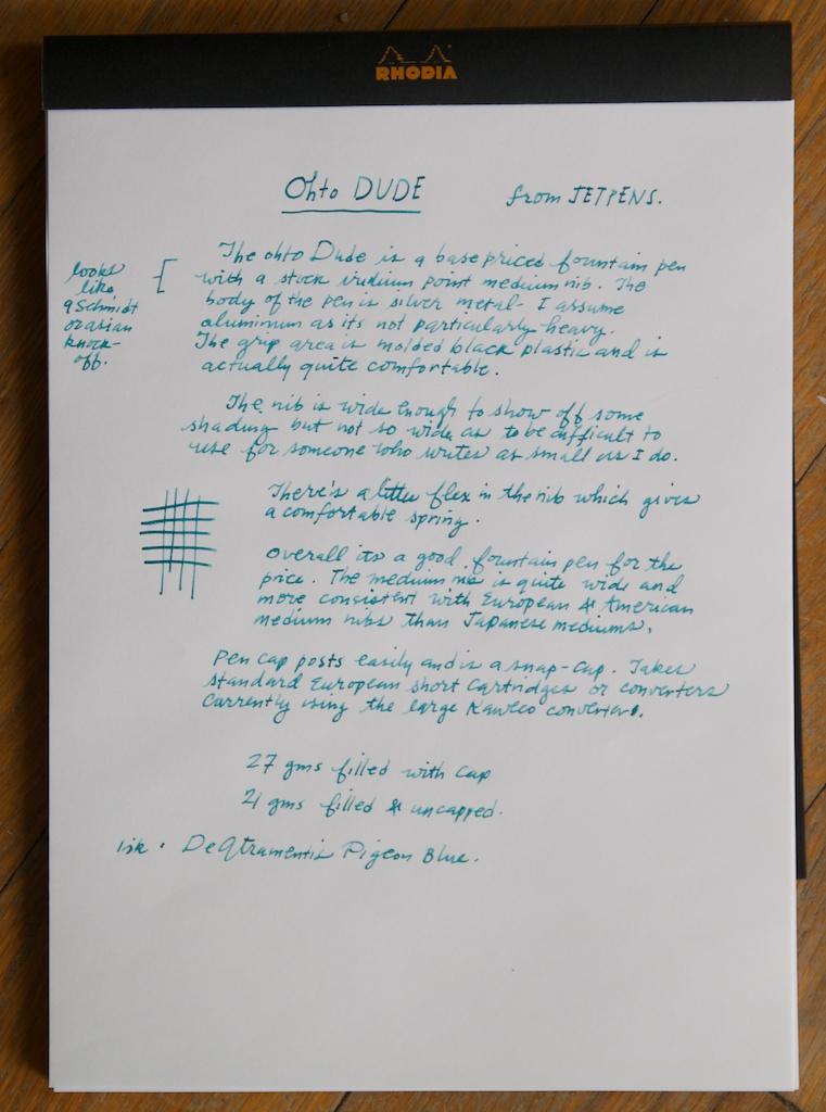 Ohto Dude Writing sample