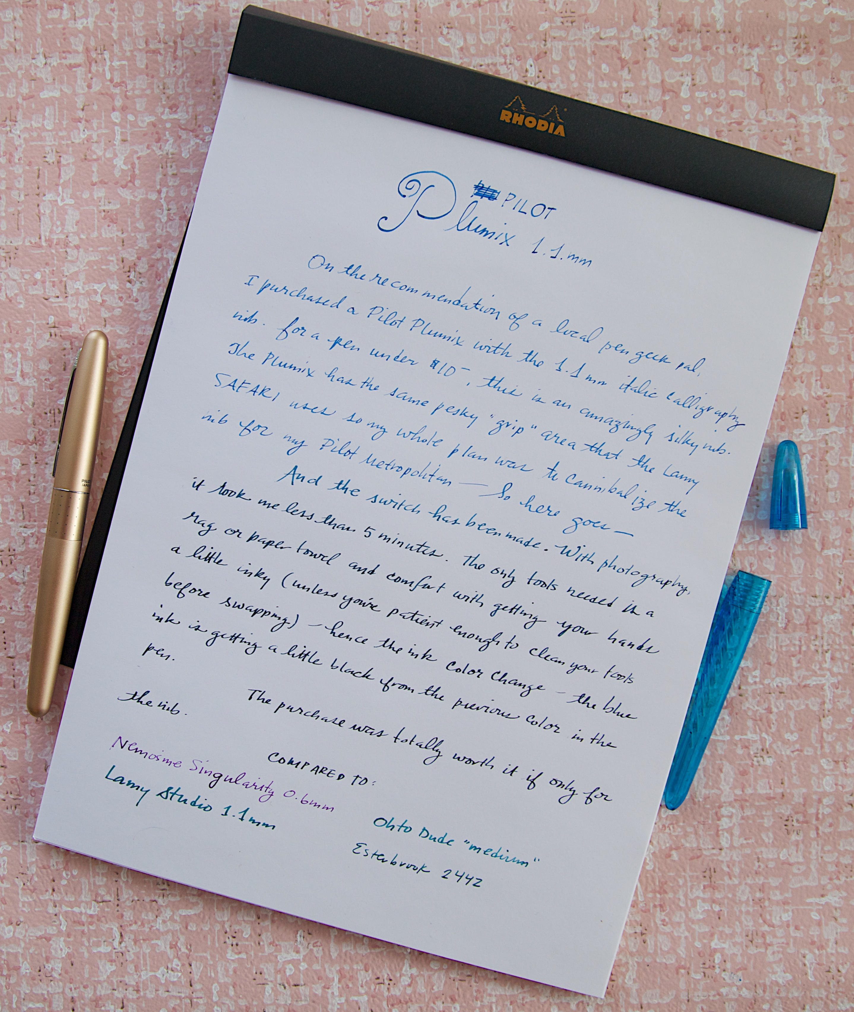 Pilot Plumix 1.1mm writing sample