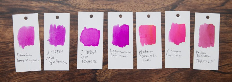 J. Herbin Rose Cyclamen Ink Pink comparison