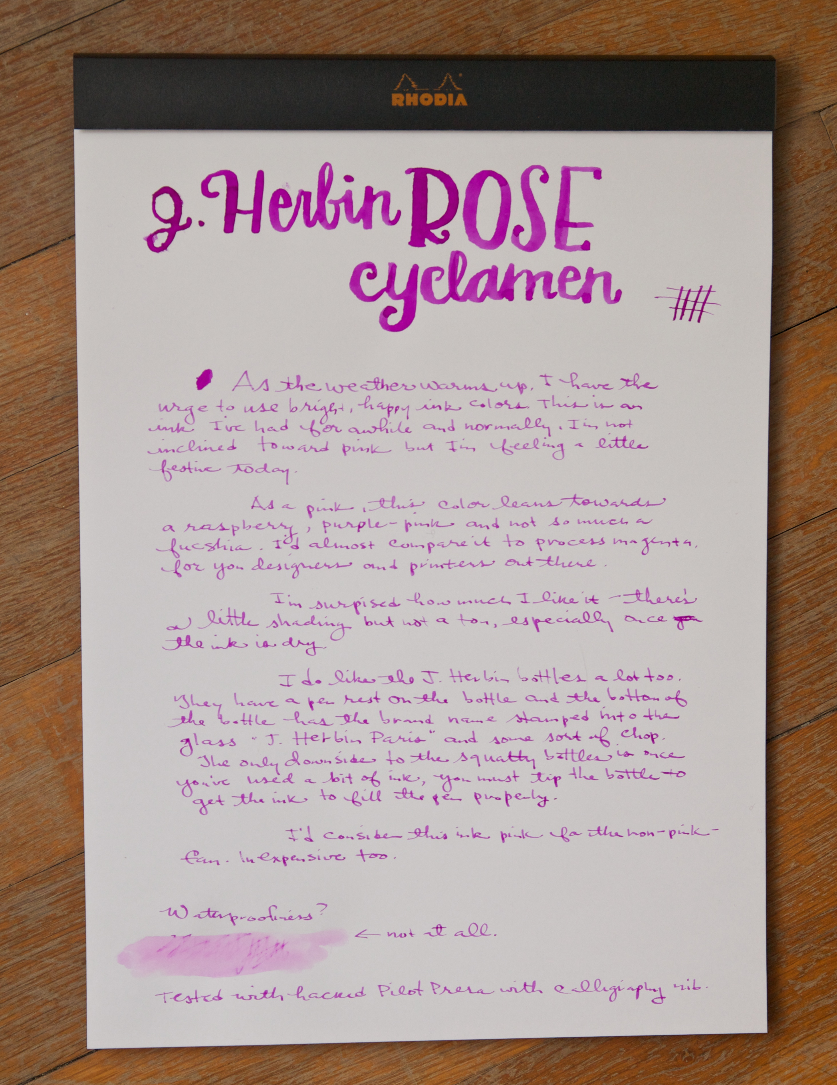 J. Herbin Rose Cyclamen Ink writing sample