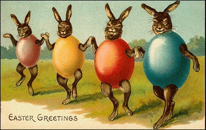 Dancing vintage easter egg bunnies