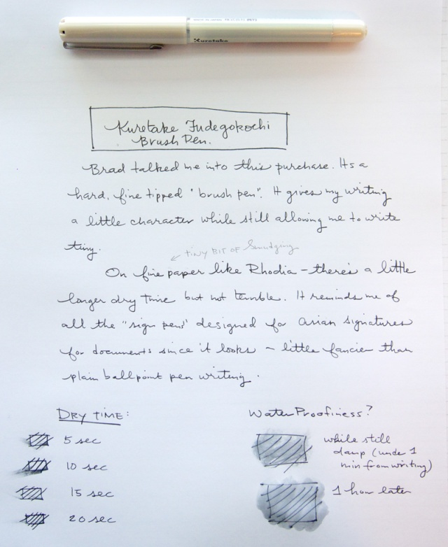 Kuretake Fudegokochi Fine Brush Pen Writing Sample