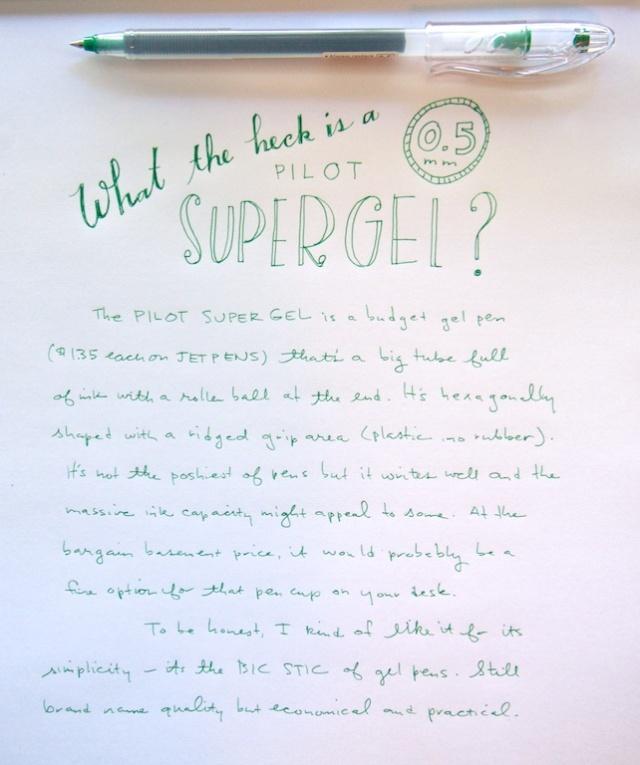 Pilot Super Gel 0.5mm writing sample